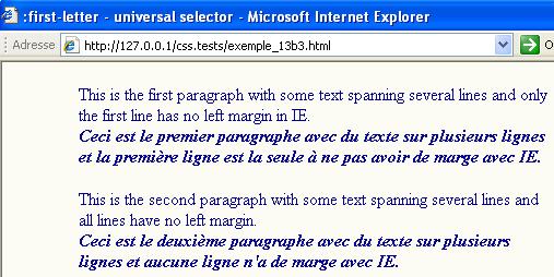 problème sur internet explorer